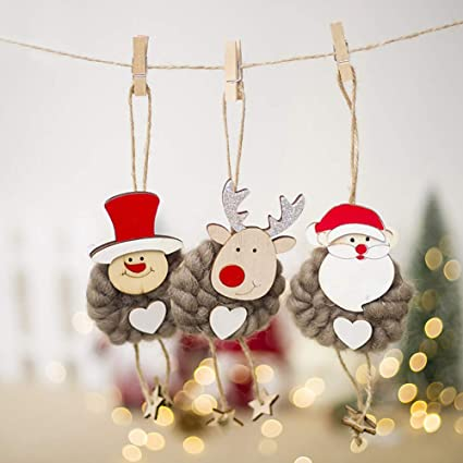 frifer christmas tree hanging decorationsset of 3 wooden wool xmas santa claussnowman - Outdoor Wooden Reindeer Christmas Decorations