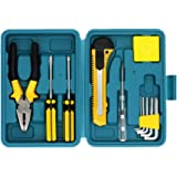 Shiratori 12-Piece Tool Set - General Household Hand Tool Kit with Plastic Toolbox Storage Case (Small)