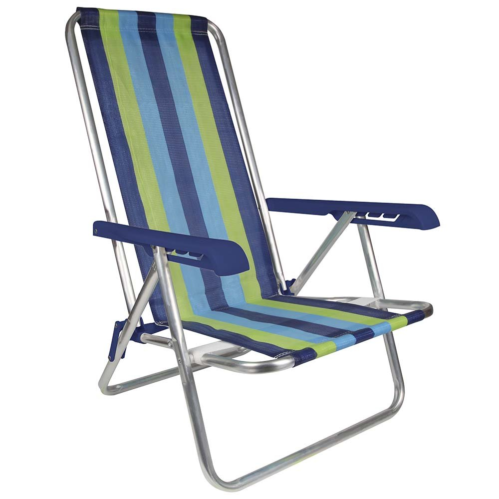 MOR 4-Position Aluminum Beach Chair - (Pack of 1) - (Blue Variation & Green Stripe) by MOR MORELEISURE ON RETAILUSA