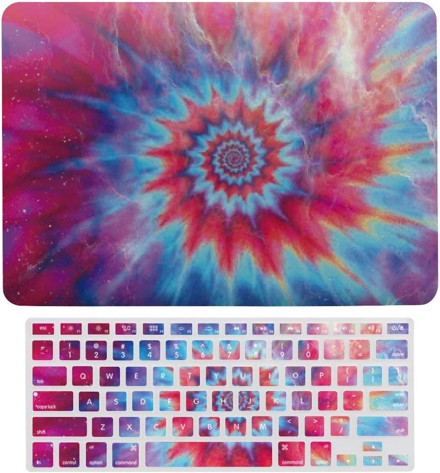 """Tie Dye Abstract Spiraling Plastic Hard Case Shell & Keyboard Cover for MacBook Air 13"""" A1466 A1369 Boho Hippie,Retro Laptop Keyboard Membrane Fashion Protective Shell Fashion Set"""