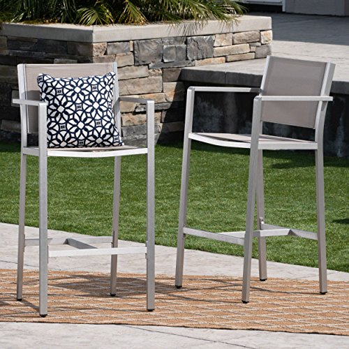 Tammy Coral Outdoor Grey Mesh 29.50 Inch Barstools with Silver Rust-Proof Aluminum Frame (Set of 2) For Sale