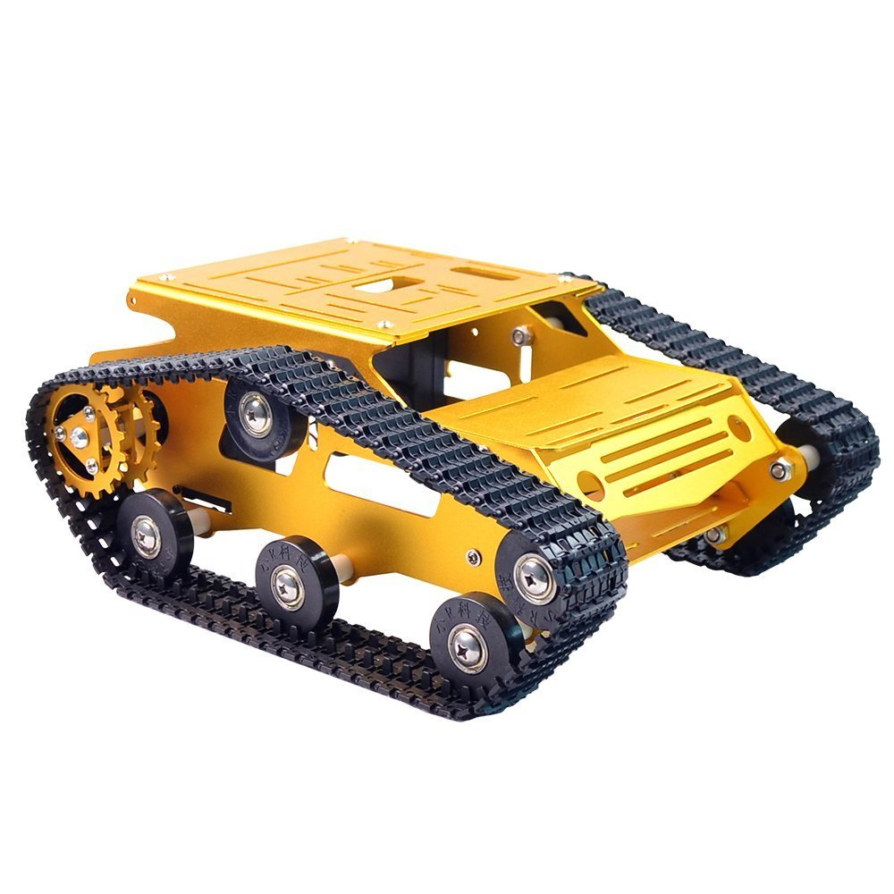 Smart Robot Car Tank Chassis Kit Aluminum Alloy Big Platform with 2WD Motors for Arduino/Raspberry Pi DIY Remote Control Robot Car Toys - Free Tools