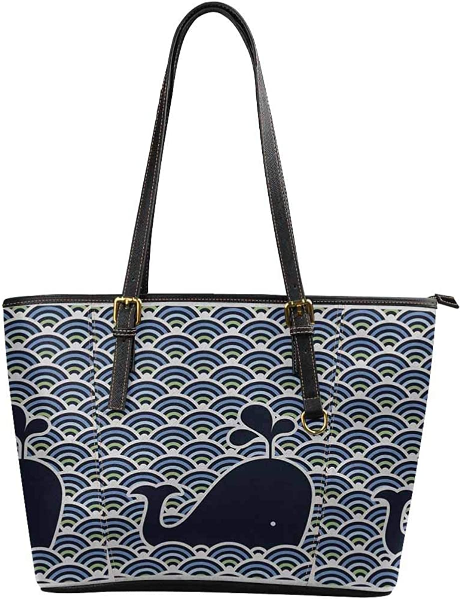 Wave Whale Womens Leather Handbags Shoulder Tote Top Handles Bag Purse for School Travel