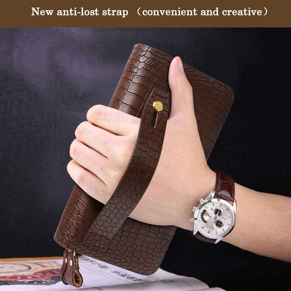 /&12 Portafoglio coccodrillo marrone flintronic Porta Carte di Credito e Tasche Pelle RFID//NFC Blocco Portafoglio