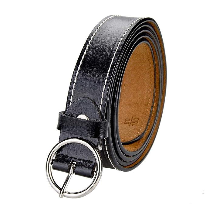 TEAMMAO Cinturón para Mujer Cinturón Piel 110CM-150CM Redondo Hebilla de Aleación Clásica Moda Casual de Negocios 28mm de Ancho Cinturones Cinturón de ...