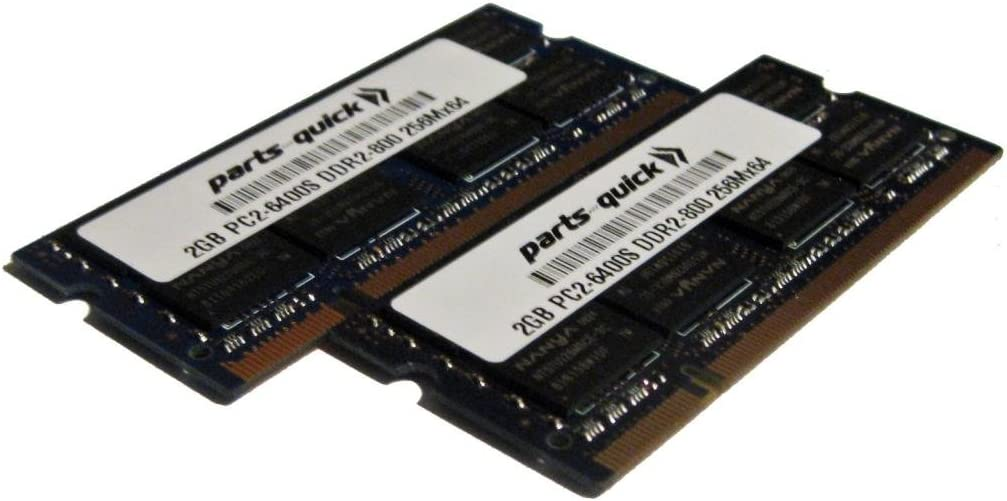 4GB Kit (2GB X 2) Memory Upgrade for Dell Latitude D830 DDR2 PC2-6400 800MHz 200 pin SODIMM RAM (PARTS-QUICK Brand)