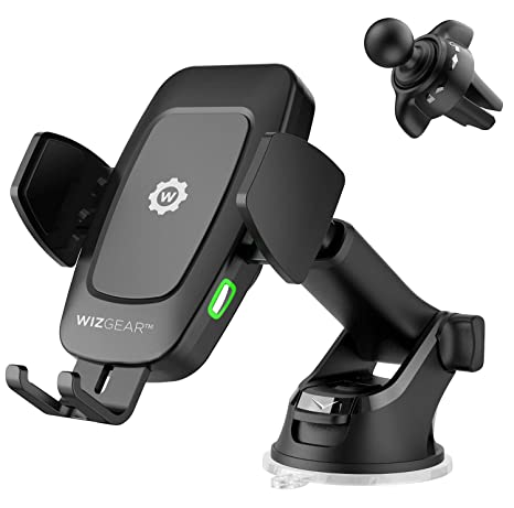 Wiz Gear Automatic Wireless Car Charging Mount, With Telescopic Arm And Air Vent, Qi 10 W 7.5 W And 5 W Fast Charging With Smartphone Holder For I Phone Xs Max Xr 8 Samsung S10 S9 (New Full Automatic Arms) by Wiz Gear