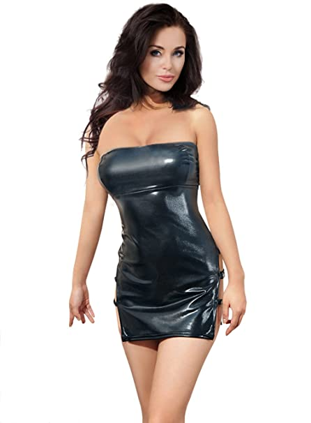 128a617c Amazon.com: Leather Sexy Wet Look Lingerie Dress Black Party Mini Slimming  Chemise Stretchy: Clothing