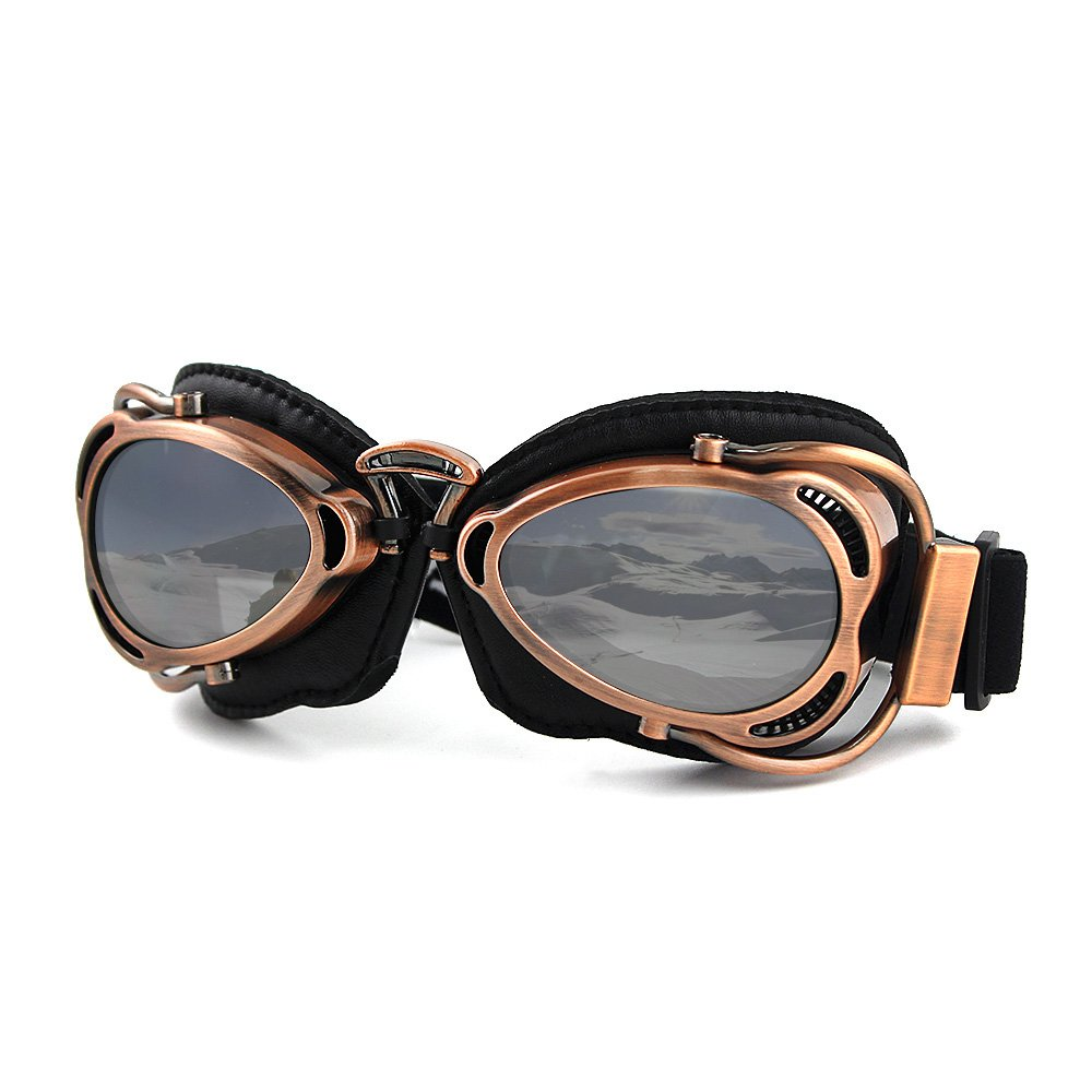 Motorcycle Ridding Goggles Sports Outdoor Clear Lenses UV Protection Sunglasses Vintage Aviator Pilot Goggles (Copper Frame with Silver Lenses)
