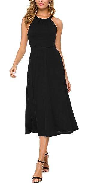 4c5c260bb7bd1 DGMYG Womens Sleeveless Halter Neck Vintage Floral Print Casual A line  Party Dress S Black