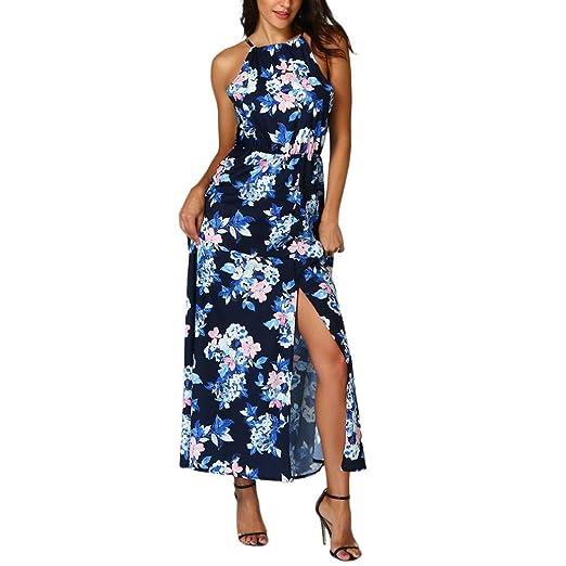 451fec9f3 Women's Summer Strap Sleeveless Boho Floral Print Split Maxi Dress Beach  Sundress (S, Blue