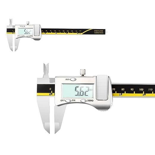 GOSCIEN Calibres Digitales de Acero Inoxidable Vernier 150mm/6 Inch Calibrador Digital Pantalla Medidor de Micrómetro LCD de Alta Precisión de ...