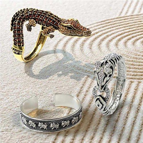 Bling Jewelry 925 Argent Sterling Lucky éléphant Brassard ancien Bracelet 15mm