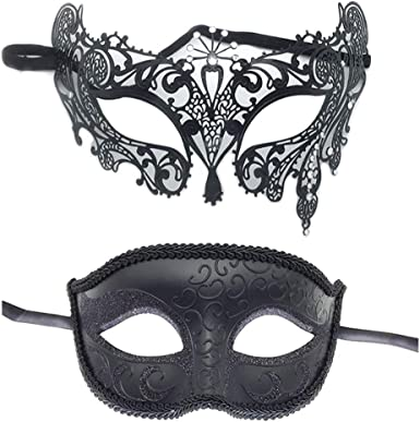 Mens and Womens Venetian Masquerade couple clowns mask Dress up midnight Party