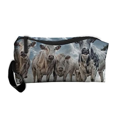 Cows Sunflower Travel Clutch Handbag For Women Cosmetic Case With Zipper
