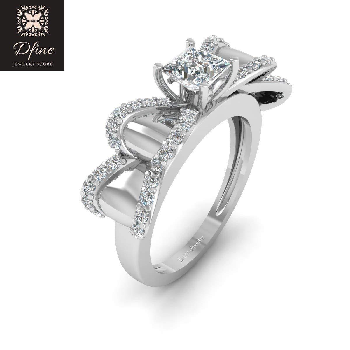 e233b87729f Amazon.com: Classic Bow Ring Ribbon Ring Princess Diamond Engagement ...