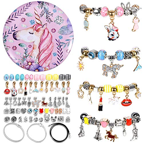 EEAMDRK DIY Charm Bracelet Making Kits, DIY Craft Jewelry Making Bead Sliver Plated Snake Chain Bracelet Jewelry Gift Set for Girld Teens ()
