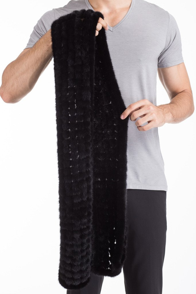 Vogueearth Mens Real Knitted Mink Fur Autumn Winter Long Scarf Black by vogueearth (Image #3)