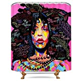 Pink and Black Shower Curtain Fabric Riyidecor Afro African American Shower Curtain Rock Colorful Watercolor Black Hair Girl Lady Pink Trendsetter Decor Bathroom Set Polyester Waterproof 72x72 Inch with Free Plastic Hooks 12-Pack