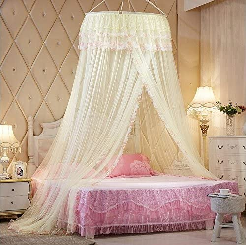 Princess Hanging Round Lace Canopy Bet Netting Mosquito Net for Crib Twin Full Queen Bed Yellow  sc 1 st  Amazon.com & Shop Amazon.com | Bed Canopies u0026 Drapes
