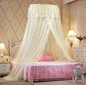 Princess hanging round lace canopy bet netting for Hanging circle bed