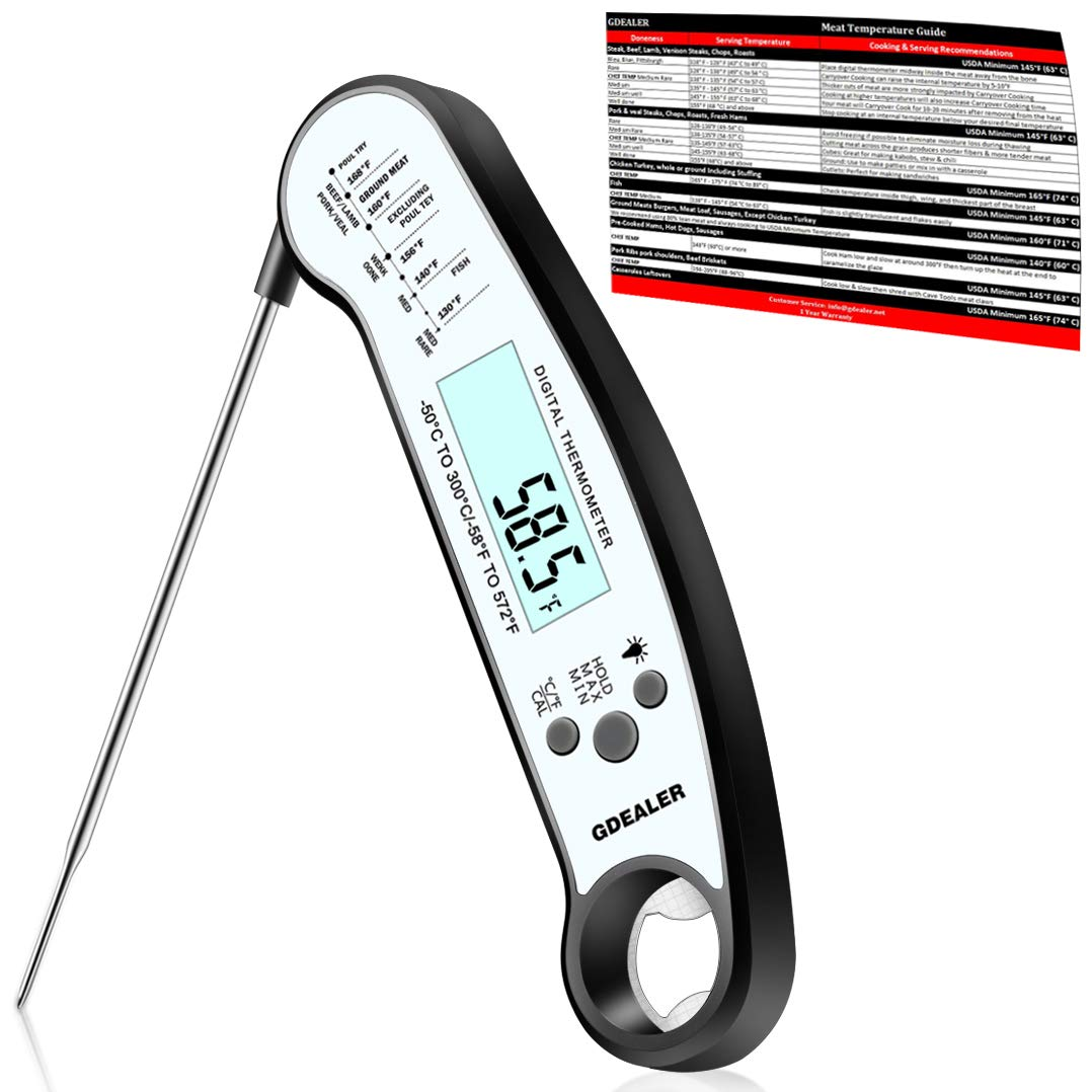 GDEALER Waterproof Digital Meat Thermometer with Bottle Opener Super Fast Instant Read Thermometer BBQ Thermometer with Calibration and Back-lit Function Cooking Thermometer for Food,Candy,Milk