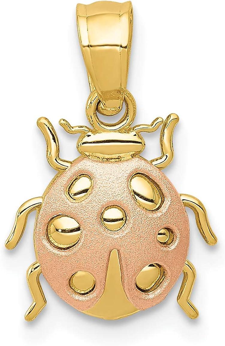 14k Two-Tone Yellow And Rose Gold Ladybug Pendant 12x10mm
