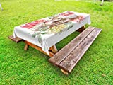 Ambesonne Rose Outdoor Tablecloth, Tender Blossoms with Hand Drawn Style Watercolor Skull Figure Mexican Festive Gothic, Decorative Washable Picnic Table Cloth, 58 X 104 inches, Multicolor