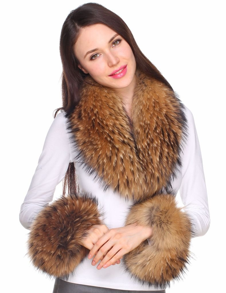 Ferand Women's Real Raccoon Fur Collar Scarf with 2 Matching Cuffs for Parka Jacket Winter Coat in Dark Natural Color,31.5 inch by Ferand (Image #4)