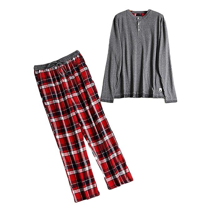Juqilu Pijamas de los hombres 2 piezas conjunto de algodón de manga larga Top y pantalones