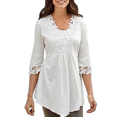 QUICKLYLY Camisetas Mujer Blusas Tallas Grandes EN Ofertas de Elegantes con Encaje de Fiesta Top: Amazon.es: Ropa y accesorios