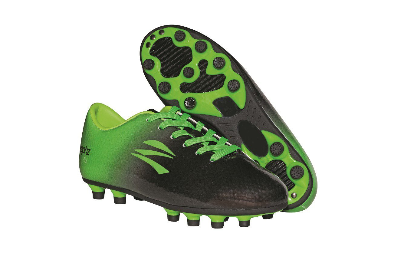 Zephz Wide Traxx Black/Lime Green Soccer Cleat Adult 10.5