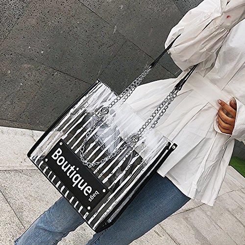 LANDONA Nueva bombo Verano, Bolso transparente Jelly, handpick, Cadena madre bolsa, hombro Bolsa de hombro Negro. Black