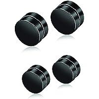 SPM Stainless Steel 6 mm One Pair Black Round Magnet Earrings Stud for Men