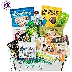 Healthy Vegan Snacks Care Package: Mix of Vegan Cookies, Protein Bars, Chips, Vegan Jerky, Fruit & Nut Snacks, Premium Vegan Gift Box