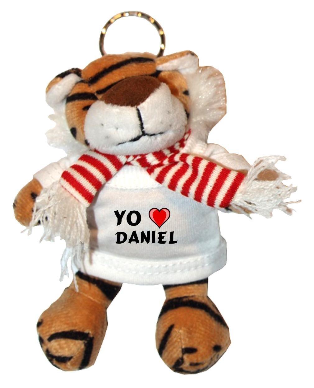 Tigre de peluche (llavero) con Amo Daniel en la camiseta ...