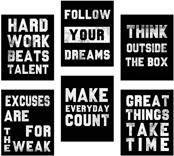Homanga Motivational Wall Art Posters, Positive Office Decor Art Prints, Set of 6, Inspirational Quote Wall Art for Office Living Room Bedroom, Canvas Posters 8x10 Inch Unframed