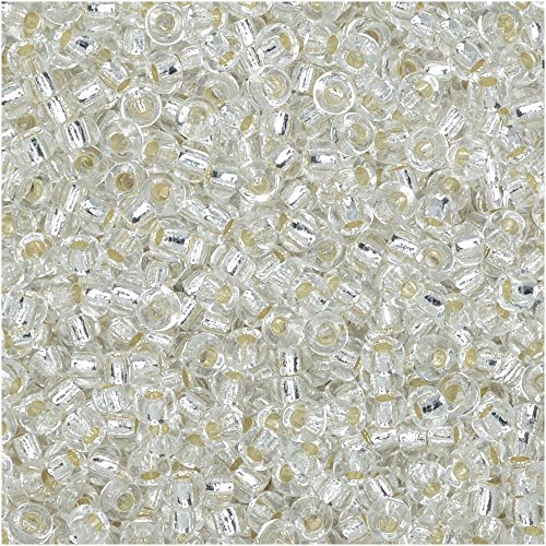 Crystal Clear Silver Lined Miyuki Japanese round rocailles glass seed beads 11/0 Approximately 24 gram 5 inch tube (Silver Lined Glass)