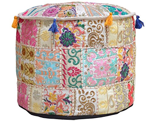 Aakriti Gallery Indian Pouf Footstool Ethnic Embroidered Pouf Cover, Indian Cotton Round Pouffe Ottoman Pouf Cover Pillow Ethnic Decor Art - Cover Only (18x13inch) (Beige) by Aakriti Gallery