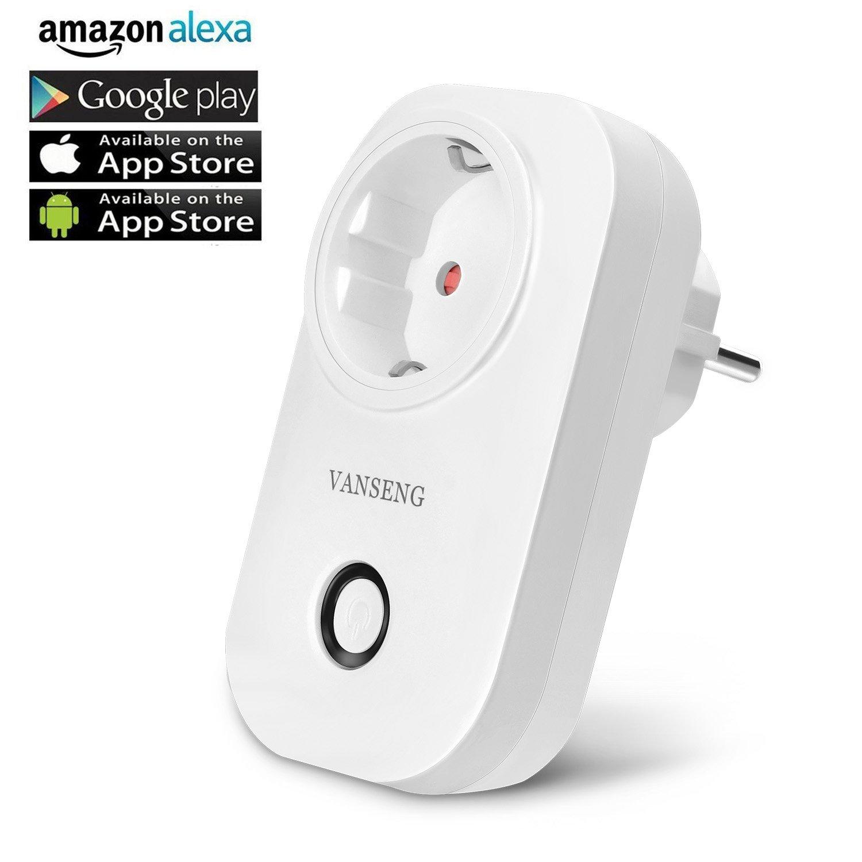 Intelligente Steckdose,VANSENG Smart WLAN Steckdose Plug, Arbeit mit Amazon Alexa Echo und Google Home, mit App Steuerung überall und zu jeder Zeit, Zeitsteuerung Energiesparfunktion