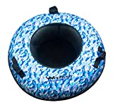 WindRider Snow Tube | Hard Plastic Bottom, Durable Cordura Top | Pull Strap | High Speed Sledding, Tubing(Blue Camo)