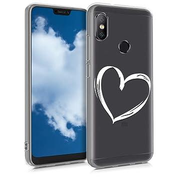 kwmobile Funda para Xiaomi Redmi 6 Pro/Mi A2 Lite - Carcasa de [TPU] para móvil y diseño Dibujo de corazón en [Blanco/Transparente]