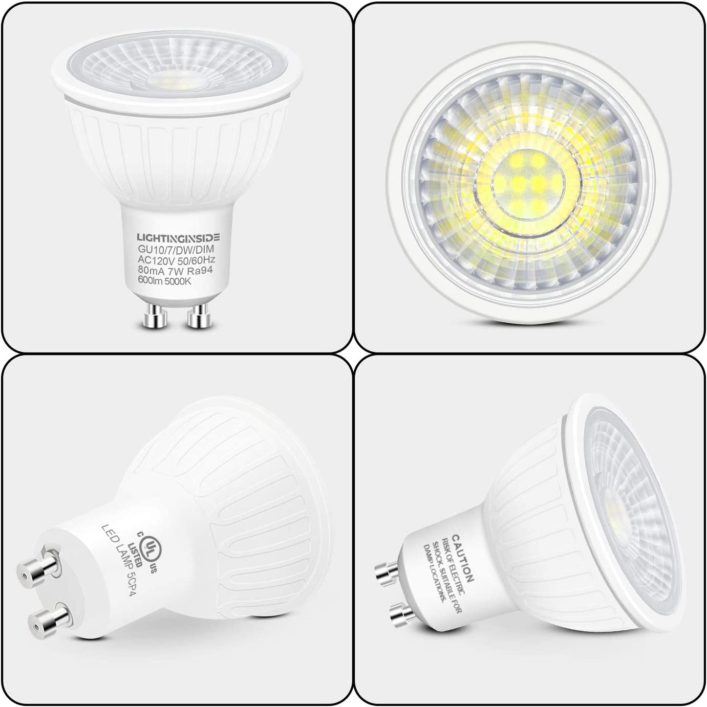 7W GU10 Recessed Lighting Bulb Pack of 8 Flicker Free 75W Halogen Equivalent UL Listed 600LM Daylight 5000K Spotlight Bulb for Track Lighting Dimmable GU10 LED Bulbs