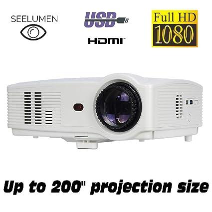 Seelumen PJW100 - Proyector (Full HD, 3200 Lúmenes, Portátil, LED, LCD 1920x1080 max, 5000:1 Contraste, 2 HDMI, VGA, 2 USB, para PS4, Xbox One, ...