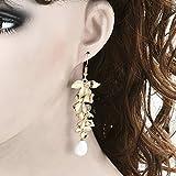 Elegant Women Orchid Gold Flower Long Drop Dangle Hook Earrings Fashion Jewelry