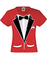 Fresh Tees Brand- Kids Black And White Tuxedo With Bow Tie T-shirt Funny Shirt