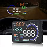 Trainshow A8 Head Up Display,5.5'' OBD II Car Windshield HUD with Speed Fatigue Warning RPM MPH Fuel Consumption Multiple-Color Bright Speeding Warning