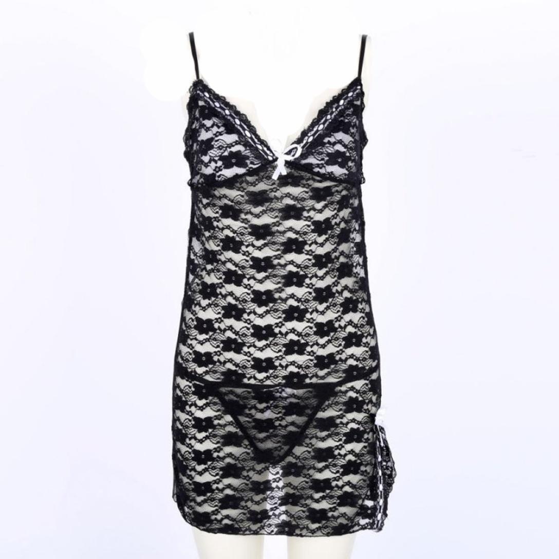 Mujer Sexy Ropa Sleepwear Dress Babydoll Set Lencería Teddy, yesmile Babydoll de Encaje Lace Lencería Transparente Abierto + g-stringa Negro Negro XX-Large: ...