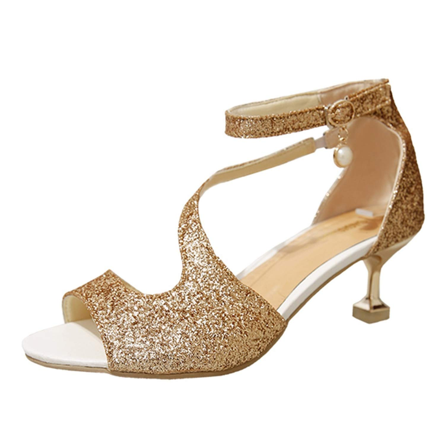 gold Merry-Heart Elegant Bead Buckle Strap Square Heels Women Sandals shoes for Ladies Black,