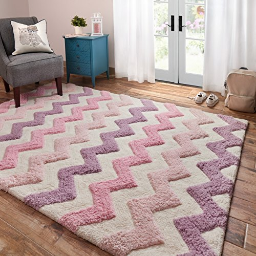 3'0 x 5'0 Hand Tufted Geometric Chevron Patterned Area Rug, Featuring Pastel Stylish Zig Zag Themed, Rectangle Indoor Kids Bedroom Living Room Playroom Carpet, Bold Zigzag Modern Style, Purple, Pink